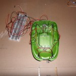 Top of the Frog with LEDs wired to a Breadboard
